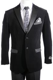 Button Peak Lapel Velvet ~ Velour Tuxedo / Blazer with Satin Lapel Side Vent Black