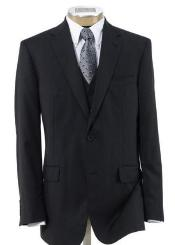 2 Button Wool Vested three piece suit with Pleated Trousers Black