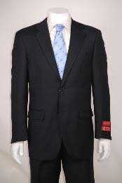 Super 140s Black Wool~Two-Button front-fish Cut without pleat Modern Fit 2 Piece