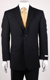 Black Modern Fit 2 Button Vented without pleat flat front Pants Wool