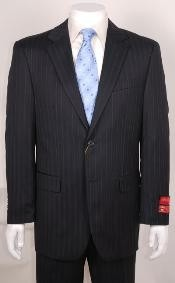 Mens suit Black Stripe ~ Pinstripe 2 Buttonwithout pleat flat front