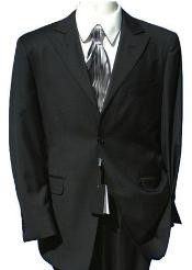 Fine Wool 2 Button Peak Lapel Black Suit (also in Dark