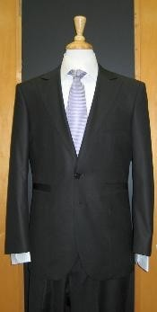 Button Black Silk Blend Custom Flat Front Vented Suit Online Discount