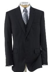 Three Piece Suit with Pleated Trousers Black