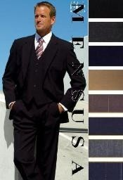 High Quality 2 Button Solid Colors Vested 100% Wool Mens Suits Comes