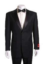 Black 2 Button Wool Tuxedo 1 Pleated Pants