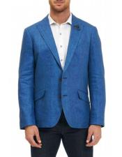 Mens Sportcoat Two Buttons Single Breasted 100% Linen Blue Classic Fit Blazer