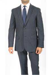 Button Slim Fit Blue Subtle Glen Plaid Mens Cheap Priced Business Suits Clearance Sale