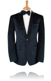 2 Button Blue Velvet Tuxedo Jacket Black Label Velvet Blazer - Mens