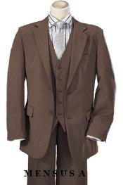 Quality Bronze ~ Toast ~ Light Brown ~ Moca 2 Button Vested 100% Wool Feel Poly~Rayon Mens