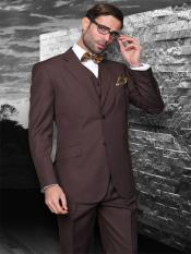 3 Piece 2 Button Brown Stripe ~ Pinstripe Suit Super 150s