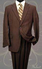 2 Button Brown Pinstripe