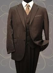 Vested 3 Pieces 2 Button Dark Brown Stripe ~ Pinstripe Mens