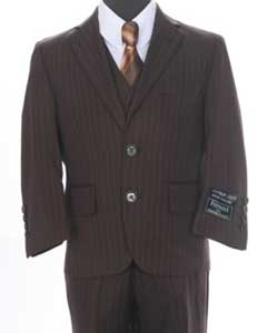 Formal 3 piece 2 Button Suit Brown or Black