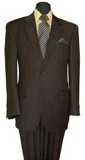 Brown Stripe ~ Pinstripe 2 Button Cheap Priced Business Suits Clearance