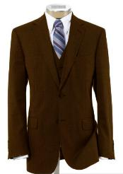 2 Button Wool Vested Dark Brown Suit with Pleated Trousers