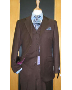 2 Button 3 Piece Brown Wool and Cashmere Flat Front Business ~