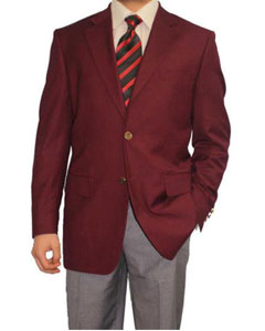 Mens 2 Button Burgundy ~ Maroon ~ Wine Color Blazer Sport Coat