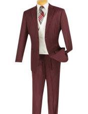 Bold Chalk Pronounce Stripe ~ Pinstripe Mens Striped 2 Button 1920s 30s Fashion Vintage Pattern No Vest