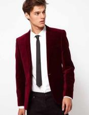 Mens Velvet Burgundy ~ Wine ~ Maroon Color 2 Buttons Wedding Suits