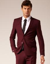 Mens 2 Button Style Suit Burgundy ~ Maroon Suit ~ Wine Color