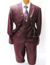 Mens Two Buttons Style Classic Fit Wine Burgundy ~ Wine ~