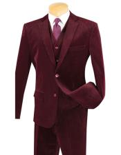 Two Buttons Burgundy ~ Wine ~ Maroon Color Pinstripe ~ Stripe corduroy 2 piece vested suits Flat