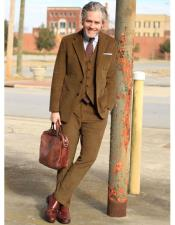 2 Buttons Single Breasted Camel Thick Corduroy Suit Flat Front Pant