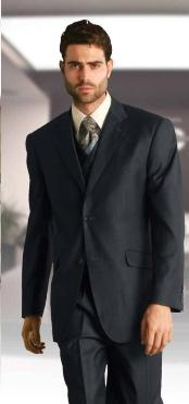 Classic 3 Piece Super 150s Extra Fine Italian Fabric 2 Button three piece suit Charcoal