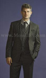 Button 3 Piece Charcoal Pinstripe Fitted affordable suit online sale -