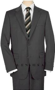 Button Charcoal Suit Wide