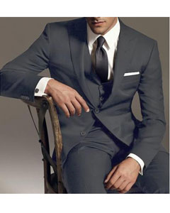 Reg:795 on sale $249 2 Btn Vested 3PC Wool Suit Peak Pointed
