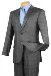 Breasted 2 Button Slim Fit affordable suit online sale Charcoal Plaid