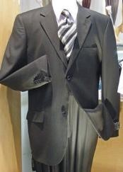 R&H 2 Button Charcoal Gray Side Vents With Flat Front Pants Super 150 Wool Business ~ Wedding