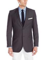 Button Charcoal Notch Lapel