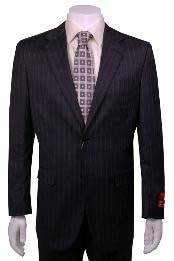 Charcoal Stripe ~ Pinstripe Modern Fit 2 Button Vented Wool without pleat