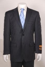 Mens Charcoal Stripe ~ Pinstripe 2 Button without pleat flat front Pants Wool Business ~ Wedding 2