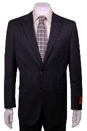 Suit Charcoal Stripe ~ Pinstripe 2 Button Vented Wool without pleat
