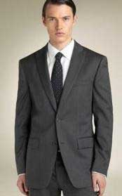 2 Button Peak Lapel Business ~ Wedding 2 piece Side Vented Suit Dark Charcoal Gray tapered slim
