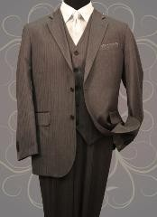 3PC 2 Button Charcoal Mens Mini Pinstripe ~ Stripe Vested Side