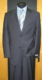 Button Flat Front Wool Blend Charcoal Suit