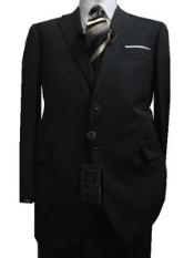 Discounted Sale Slim Cut 2 Button Charcoal with Thin Light Gray Pinstripes Mens Suit