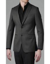 Grey Slim fit blazer 2 Buttons Solid Sport coat Jacket
