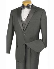 Grey ~ Gray Two Buttons Tuxedo Mens Jacket & Pants Suit No Vest