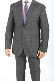 Button Slim Fitted Charcoal Glen Plaid & checkered check pattern Suit
