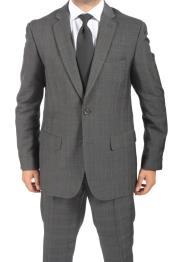 Button Slim Fitted Charcoal Subtle Glen Plaid Mens Suit