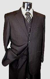Brown 3 Piece 2 Button single pleated pants three piece suit