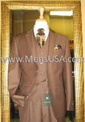Button 3 Piece Mocca Fitted Suit Copper~Rust~Cognac