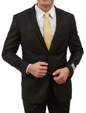 2 Button Front Closure Black Satin Trim Suit