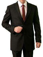 Solid Black 2 Button Front Closure Notch Lapel Suit